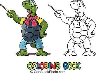 tortuga, colorido, book., abc, alfabeto, t, profesor