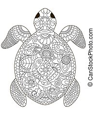 tortuga, colorido, mar, adultos, vector