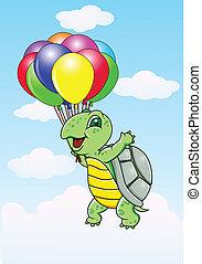 tortuga, con, globo