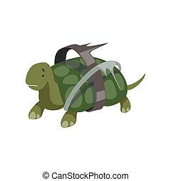 tortuga, desastre, global, ilustración, plástico, desperdicio, ambiental, ecológico, vector, plano de fondo, blanco, problema