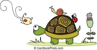 tortuga, en, jardín, con, animal, amigos