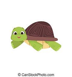 tortuga, estómago, cómico, aislado, caricatura, fondo blanco...