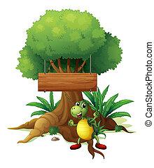 tortuga, grande, de madera, árbol, signboard, debajo