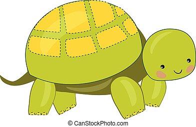 tortuga, illustration., color, vector, verde, o, emoji
