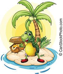 tortuga, isla, espalda, tesoro, pequeño