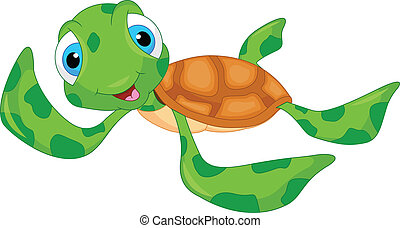 tortuga, lindo, caricatura, mar