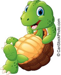 tortuga, lindo, posar, caricatura