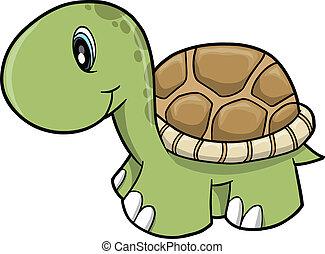 tortuga, lindo, vector, safari