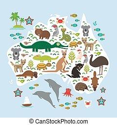 tortuga, mapa, wombat, diablo, loro, dingo, cacatúa, pulpo,...