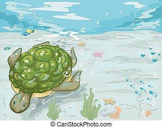 tortuga, nade, submarino