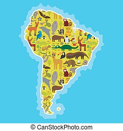 tortuga, perezoso, papagallo, Color azul - pagar, delfín, venado, cocodrilo, Oso hormiguero, sello,  Lama, mono,  armadillo, jacinto,  booby,  Manatee,  Capybara, tucán, piel,  América, pingüino, Murciélago,  jaguar,  maned,  vector, lobo, mapache,  boa, s