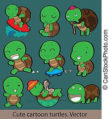 tortuga, poco, caricatura, feliz