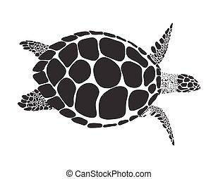 tortuga, símbolo, vector