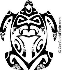 tortuga, tatuaje, estilo, maorí, tribal, -