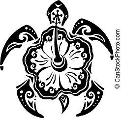 tortuga, tatuaje, tribal, flor, hibisco