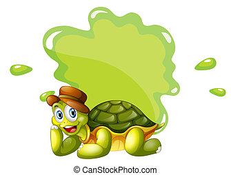 tortuga, vacío, plantilla, fondo