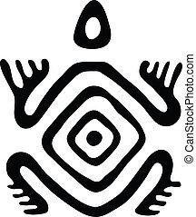 tortuga, vector, nativo, ilustración, estilo