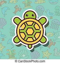 tortuga, vida, caricatura, mar