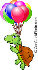 tortuga, vuelo, con, globo