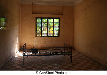 Torture bed - One of the 30 torture rooms used by the Khmer...