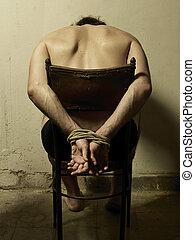 Torture man with tye hands. - Torture man with tye hands...