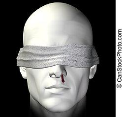 tortured man - Blindfolded tortured man with bleeding nose....