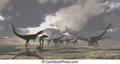 Torvosaurus and Diplodocus Dinosaurs