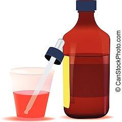 tos, rojo, jarabe, relevar, contener, vidrio, contenedor