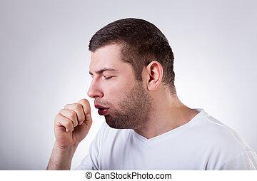 tos, teniendo, hombre enfermo
