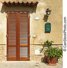 toscan, italie, porte, aveuglé, maison