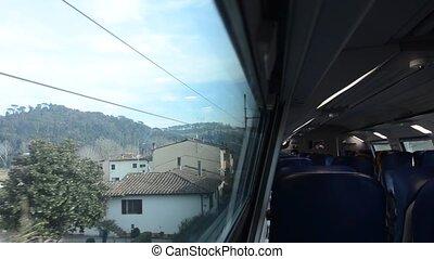 toscan, train, paysage, banlieusard