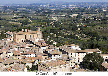 Toscana - Beautiful toscana landscape summertime, birds eye ...