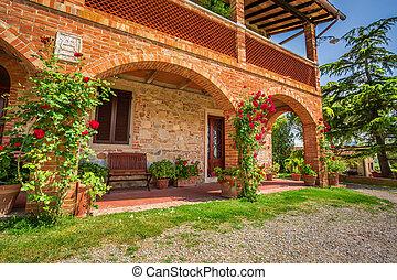 toscana, ländlich, haus, in, sommer, italien