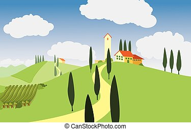 Toscana landscape - traditional Tuscany landscape with the...