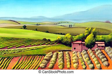 toscana, landschaftsbild. ackerland, illustration., gemalt, italy., toscana, hand, original.