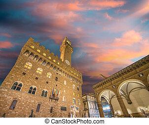 toscana, plaza, signoria, italy., -, detalle, arquitectónico...