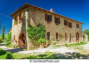 toscana, rural, casa, en, verano, italia
