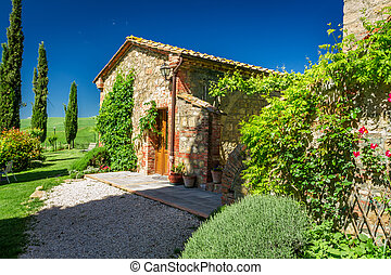 toscana, rurale, casa, in, estate, italia