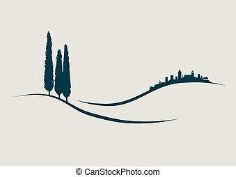 toscana, san, ausstellung, abbildung, stilisiert, gimignano, italien