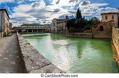 toscana, vignoni, bagno, villaggio, medievale