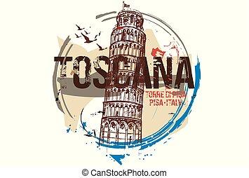 Toscanaemblem - Pisa Tower. Toscana, Italy city design. Hand...