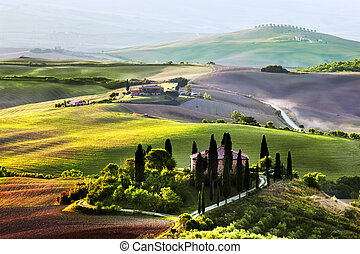 toscane, ferme, sunrise., maison, vignoble, hills., toscan, paysage