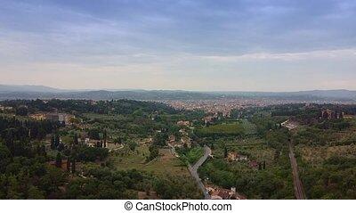 toscane, florence, vue, horizon., aérien