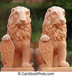 toscano, heráldico, terracota, leones, esculturas