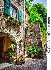 toscano, provinciano, calle, italiano, pueblo, pequeño