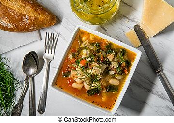 toscano, sopa, ribollita, bread