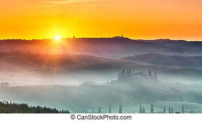 toskánsko, krajina, východ slunce