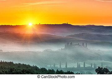 toskánsko, východ slunce, krajina