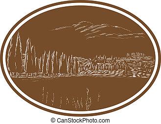 toskańczyk, włochy, krajobraz, drzeworyt