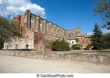 toskana, san, vägg, abbotskloster, galgano., sida